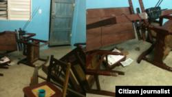 Así quedó la sede de la UNPACU luego del allanamiento. Fotos Yusmila Reyna.