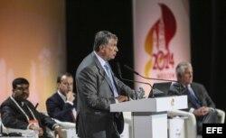 El presidente de la petrolera rusa Rosneft, Igor Sechin, interviene en el 21 Congreso Mundial del Petróleo, al que asiste una nutrida delegación de CUPET (EFE).