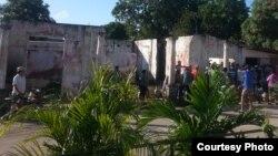 Cola para el gas licuado en Isla de la Juventud. (Cortesía/Dayanis Salazar Pérez)