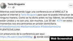 Tania Bruguera denuncia que la seguridad del estado le bloqueo la señal de su teléfono