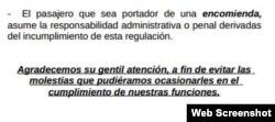 Fragmento de la nota informativa de la Aduana de Cuba sobre las encomiendas