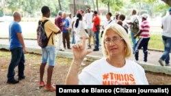María Cristina Labrada, Dama de Blanco arrestada en La Habana el 1 de febrero de 2018. ARCHIVO. Enero 9 de 2016.