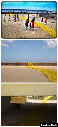 Lemon Way, de Carlos Nicanor, en una secuencia que ilustra el día de la inauguración y su estado actual.