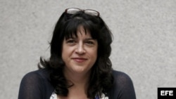 """La escritora británica E. L. James en la presentación en Madrid de la novela """"Cincuenta sombras de Grey""""."""