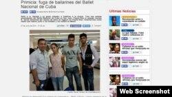 Imagen de la página web de AmericaTeve donde se muestra a los bailarines cubanos llegando a Miami.