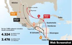 La ruta de los cubanos por Centroamérica.