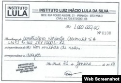 Recibo de la donación de Odebrecht al Instituto Lula.
