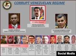 Recompensa por funcionarios del régimen venezolano.