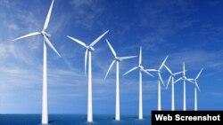 Parque de molinos para producción de energía eólica