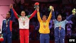 La cubana Glenhis Hernández, la mexicana María del Rosario Espinosa, la colombiana Sandra Venegas y la hondureña Joselin Molina.