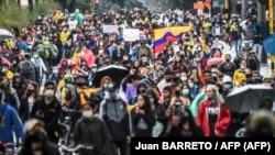 Una manifestación en Bogotá contra la reforma tributaria propuesta por Iván Duque.