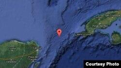 Foto satelital del estrecho de Yucatán.