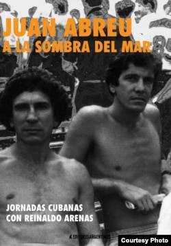 "Reinaldo Arenas (izq) y Juan Abreu en la foto de portada del libro de este último ""A la sombra del mar""."