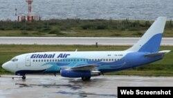 Este Boeing 737-200, matrícula XA-UBB fue uno de los dos de Global Air que fueron auditados en 2008-2009 por el ijnspector de Cubana de Aviación Ernesto Rodríguez Martín