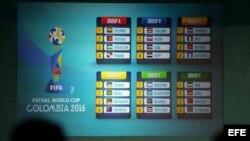 Vista del orden de los grupos durante el sorteo de la Copa Mundial de Futsal FIFA Colombia 2016.