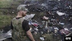 Un miliciano prorruso contempla el desastre después que un avión civil de Malaysia Airlines fuera derribado.