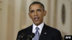 El presidente estadounidense Barack Obama se dirige a la nación el martes 10 de septiembre de 2013, en la Casa Blanca en Washington, EE.UU.