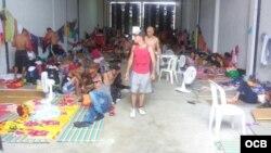 Migrantes cubanos en albergue de Turbo, Colombia. Foto cortesía de cubanos varados en Turbo.