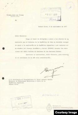 Uno de los documentos desclasificados que sirvieron al autor para su investigación sobre los vínculos de la dictadura militar argentina con el régimen de Fidel Castro.