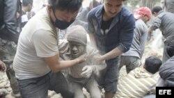 Víctimas del terremoto en Nepal.