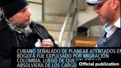 Imagen de la repatriación del cubano Raúl Gutiérrez Sánchez. Tomado de Migración Colombia