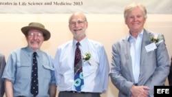 Los estadounidenses (d-i) Jeffrey C. Hall, Michael Rosbash y Michael W. Young durante una conferencia en la Universidad China de Hong Kong. (Archivo)