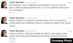 Tuiters enviado por Yoani Sánchez.