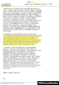 Cable desclasificado (Diciembre, 2009) donde el diplomático brasileño en Suiza Roberto Azevedo reproduce el parecer de Malmierca, sobre el estado de las conversaciones con los EEUU.