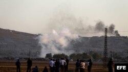 Kobani, ciudad siria, tras un ataque aéreo de las tropas aliadas contra posiciones del Estado Islámico (EI), (octubre 7, 2014).