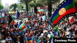 Protesta de mapuches en Chile.