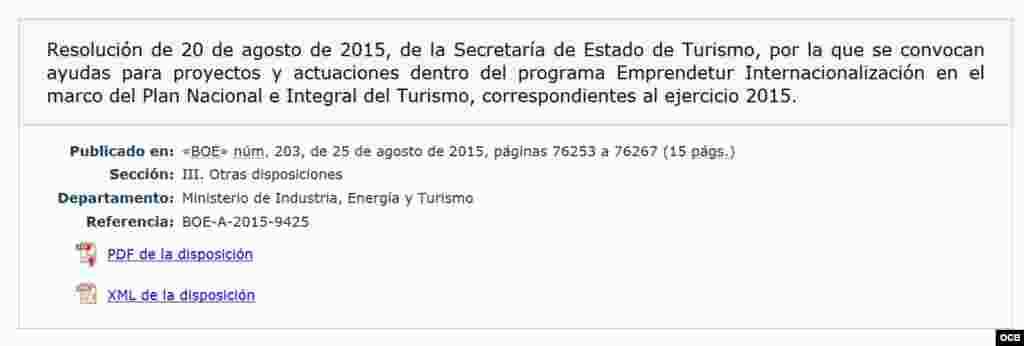 Ministerio de Industria, Energía y Turismo (para apertura de nuevos mercados)