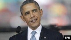 El presidente de Estados Unidos, Barack Obama, durante su discurso en homenaje a Nelson Mandela.