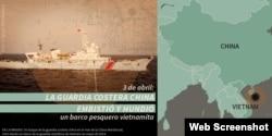 Guardacostas chino merodenado aguas territoriales de Vietnam