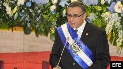 El presidente de El Salvador, Mauricio Funes, en la sesión plenaria de la Asamblea Legislativa en San Salvador (El Salvador).