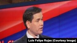 Una vista del debate del candidato republicano Marco Rubio, sala de prensa Universidad de Miami. Foto: Luis Felipe Rojas.