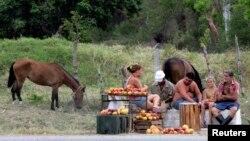 Una familia de campesinos cubanos vende mangos en la carretera. Foto Archivo REUTERS/Desmond Boylan