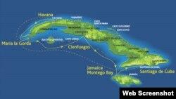 Mapa de la trayectoria del crucero LGBT por Cuba.