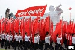 Corea del Norte ha celebrado hoy un espectacular desfile de masas en Pyongyang (2016).