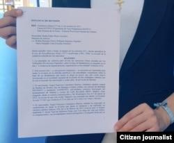 Rosa María Payá entrega petición en Ministerio de Justicia Febrero 27