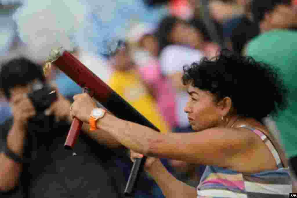 Simpatizante de Daniel Ortega en los ataques contra los manifestantes.