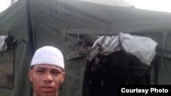 Adam Ramírez, en el campamento de refugiados, La Cruz en Costa Rica