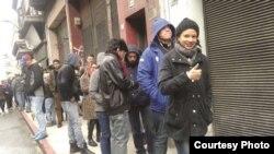 Mighrantes cubanos en Santa Rosa, Uruguay.