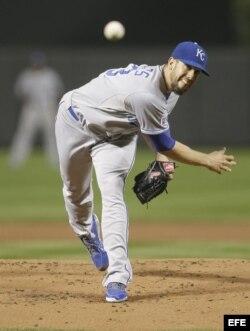 El pitcher derecho James Shields, de los Reales de Kansas City.