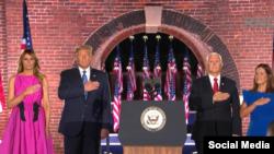 Trump y Melania junto a Pence y su esposa