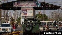 Puesto fronterizo del lado venezolano a la entrada de Paraguachón, departamento colombiano de La Guajira.