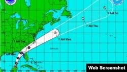 Gráfico del Centro Nacional de Huracanes de EEUU que muestra el posible trayecto de la tormenta.