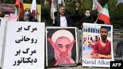Protestas por la ejecución del atleta iraní Navid Afkari en Londres (Justin Tallis / AFP).