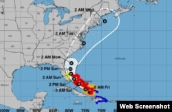 Pronóstico de trayectoria de huracán Isaías para los próximos días. (NHC)