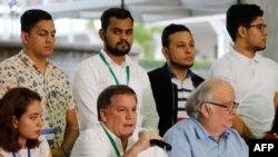 El presidente del COSEP, Josá Adan Aguerri en conferencia de prensa donde se anunció que Nicaragua liberará a todos los presos políticos.