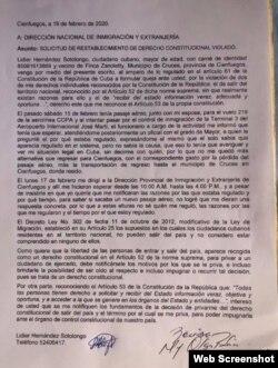 Copia de la carta a la Dirección Nacional de Inmigración y Extranjería (Tomado de la cuenta de Facebook de Lidier Hernández).